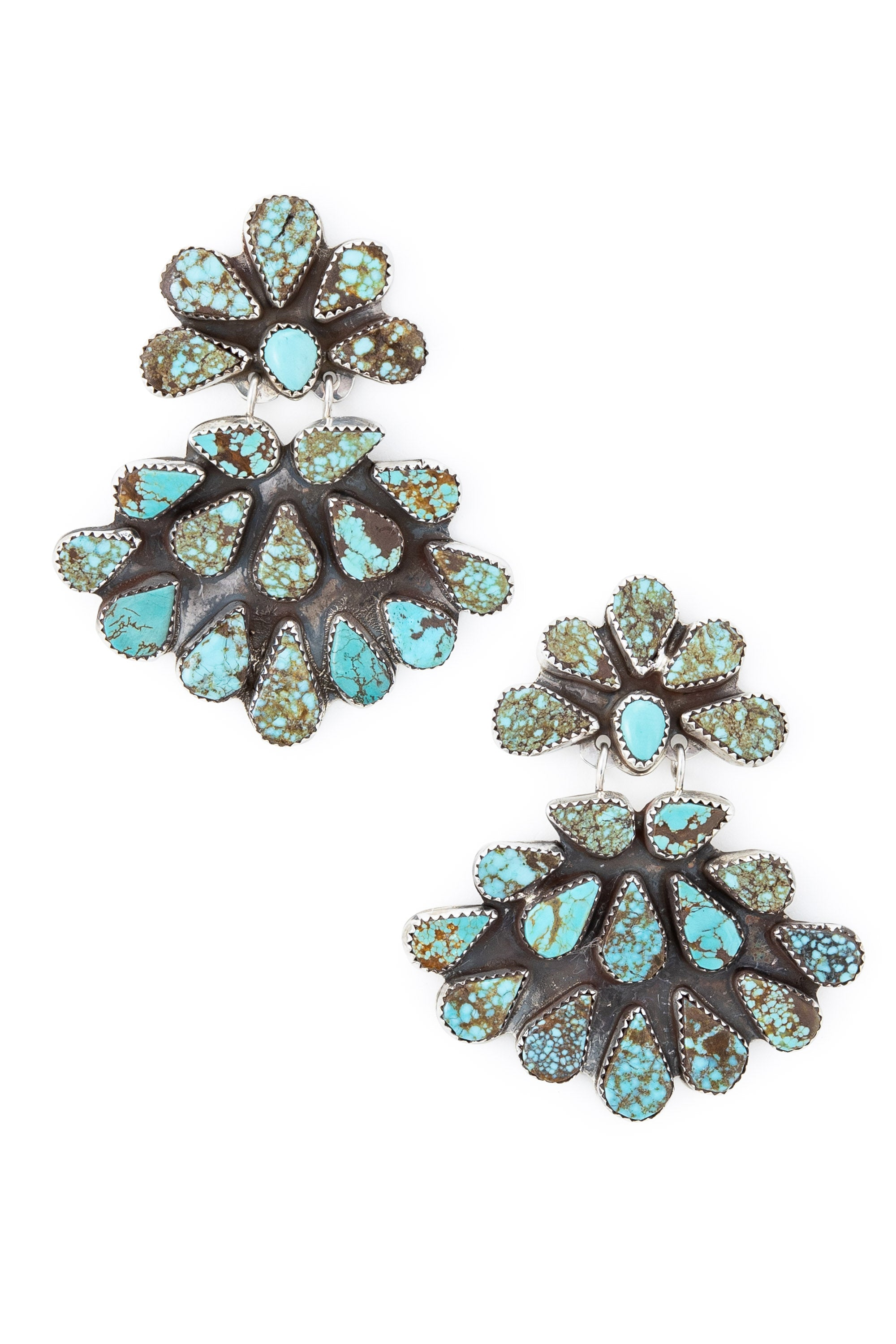 Earrings, Chandelier, Turquoise,  Oscar Betz, Hallmark, Vintage, 556