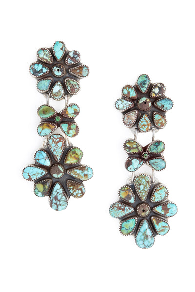 Earrings, Oscar Betz, Drop Tiers, Turquoise, 560