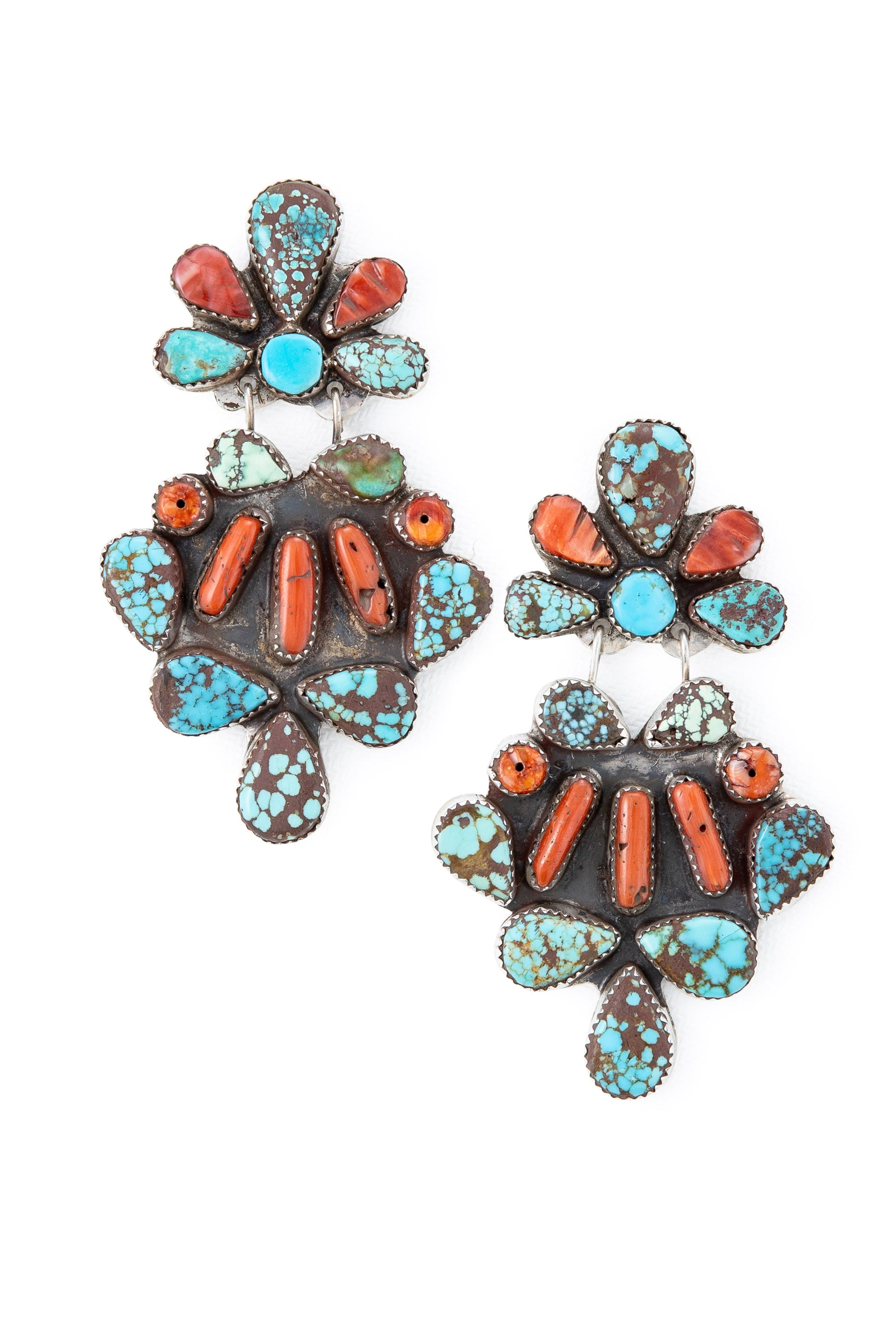 Earrings, Chandelier, Turquoise & Coral, Oscar Betz, Hallmark, Vintage, Estate, 562