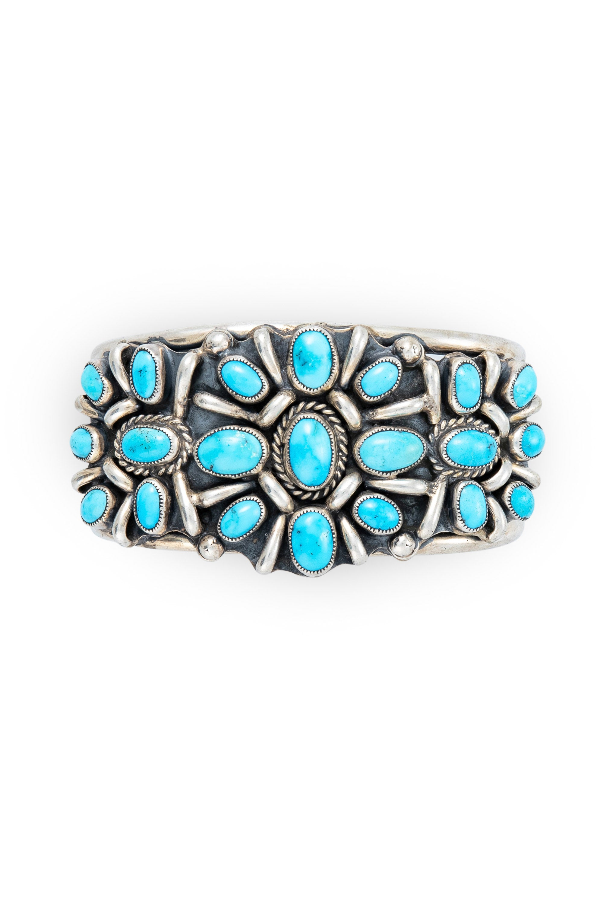 Cuff, Cluster, Turquoise, Vintage, '80's, 2663