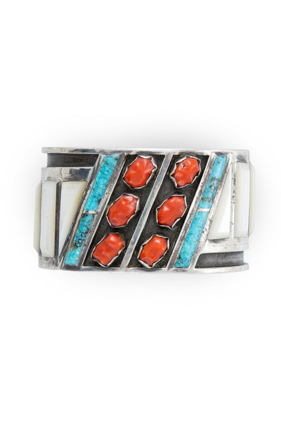 Cuff, Turquoise, Red Coral & Mother of Pearl, Hallmark, Vintage, 2666