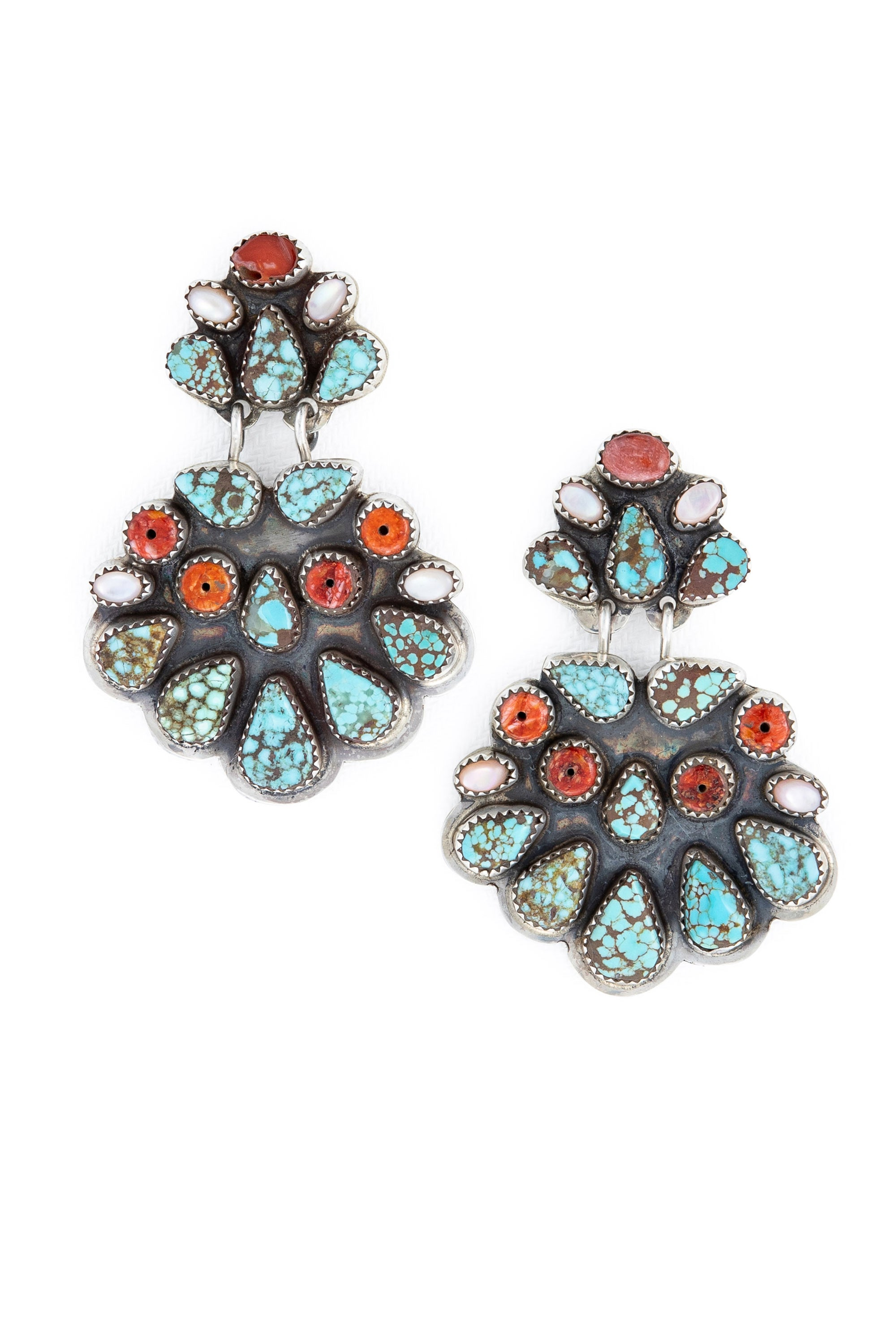 Earrings, Chandelier, Turquoise & Coral, Oscar Betz, Hallmark, Vintage, Estate, 563