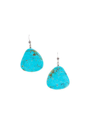 Earrings,  Slab, Turquoise, Contemporary, 652