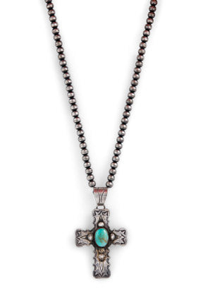 Necklace, Bead, Cross, Turquoise, Vintage, 1087