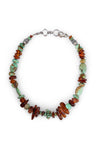 Necklace, Natural Stone, Tab, Turquoise & Amber, Irregular, Vintage, 1091