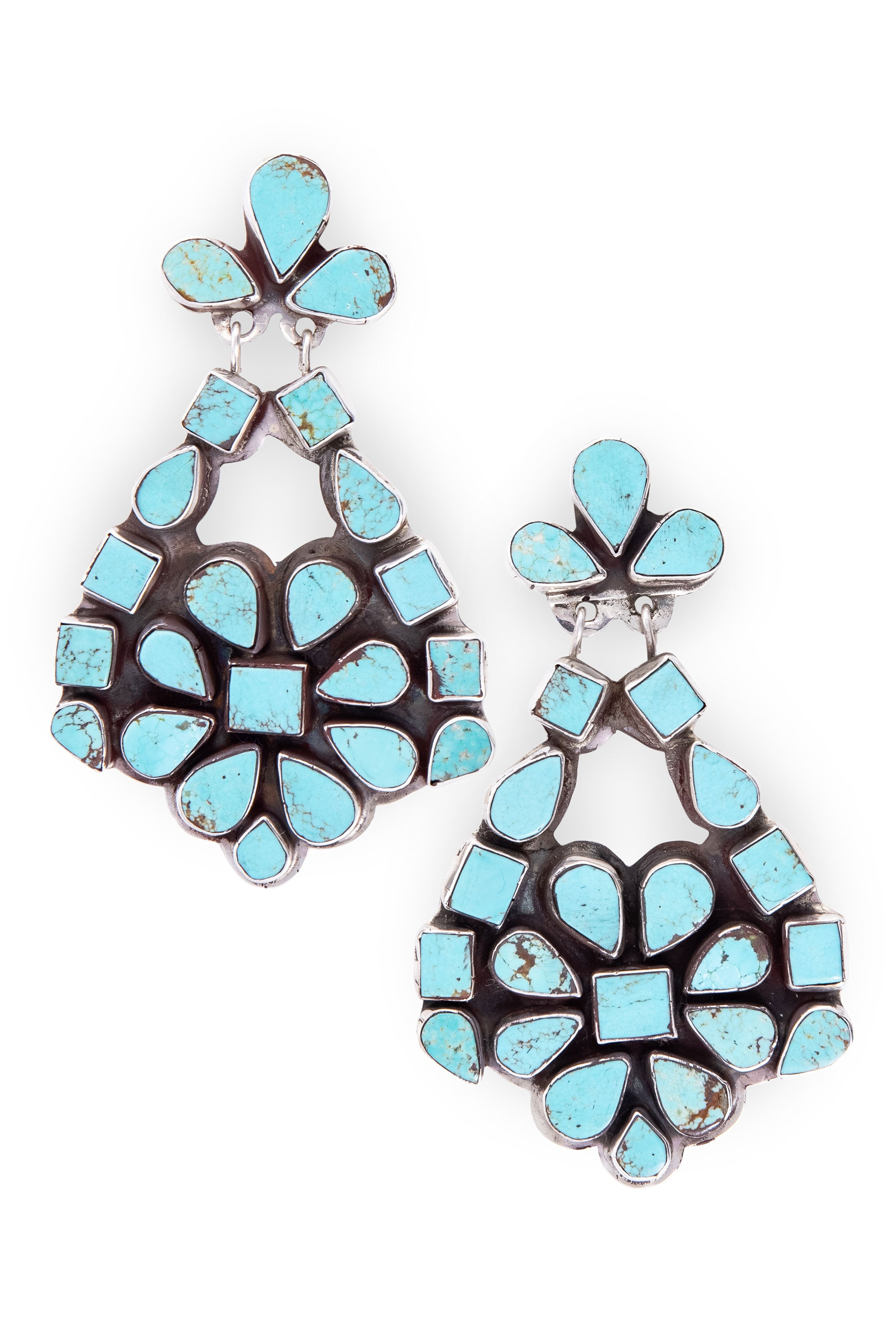 Earrings, Oscar Betz, Chandelier, Turquoise, Hallmark, 593T1