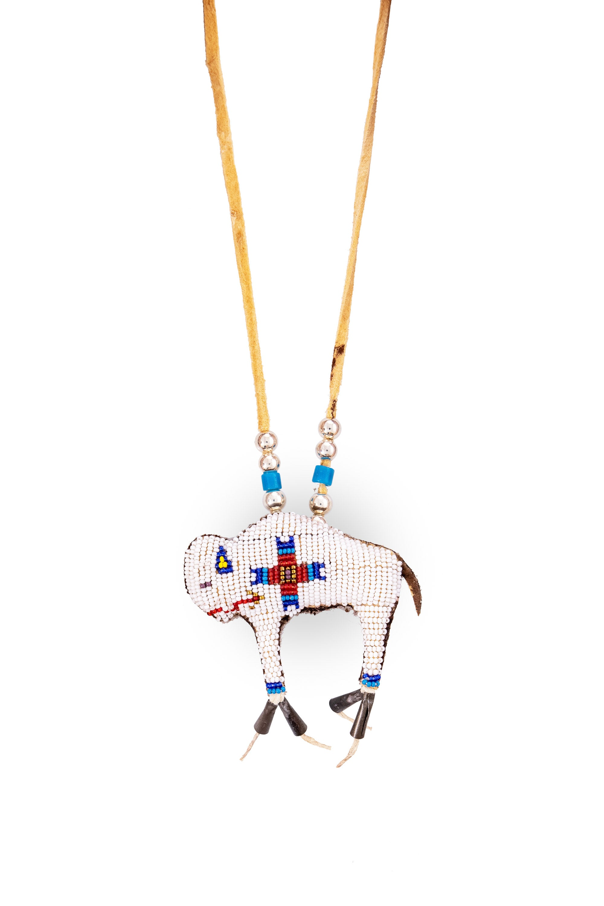 Necklace, Leather Thong, Amulet, White Buffalo, Dave Chavarria, Artisan, 1131