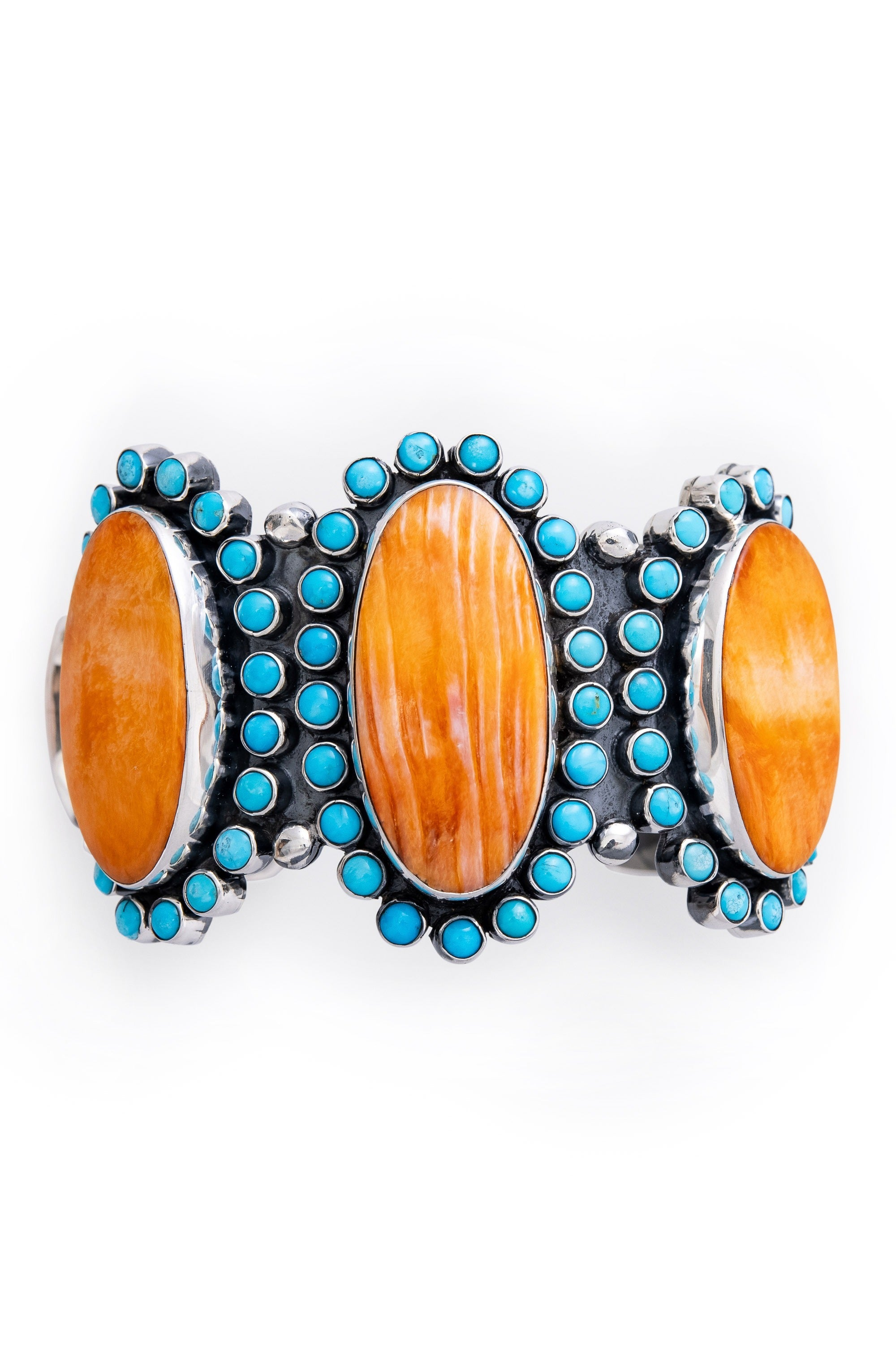Cuff, Cluster, Cameo, Orange Spiny Oyster & Turquoise, Federico, Contemporary, 2787