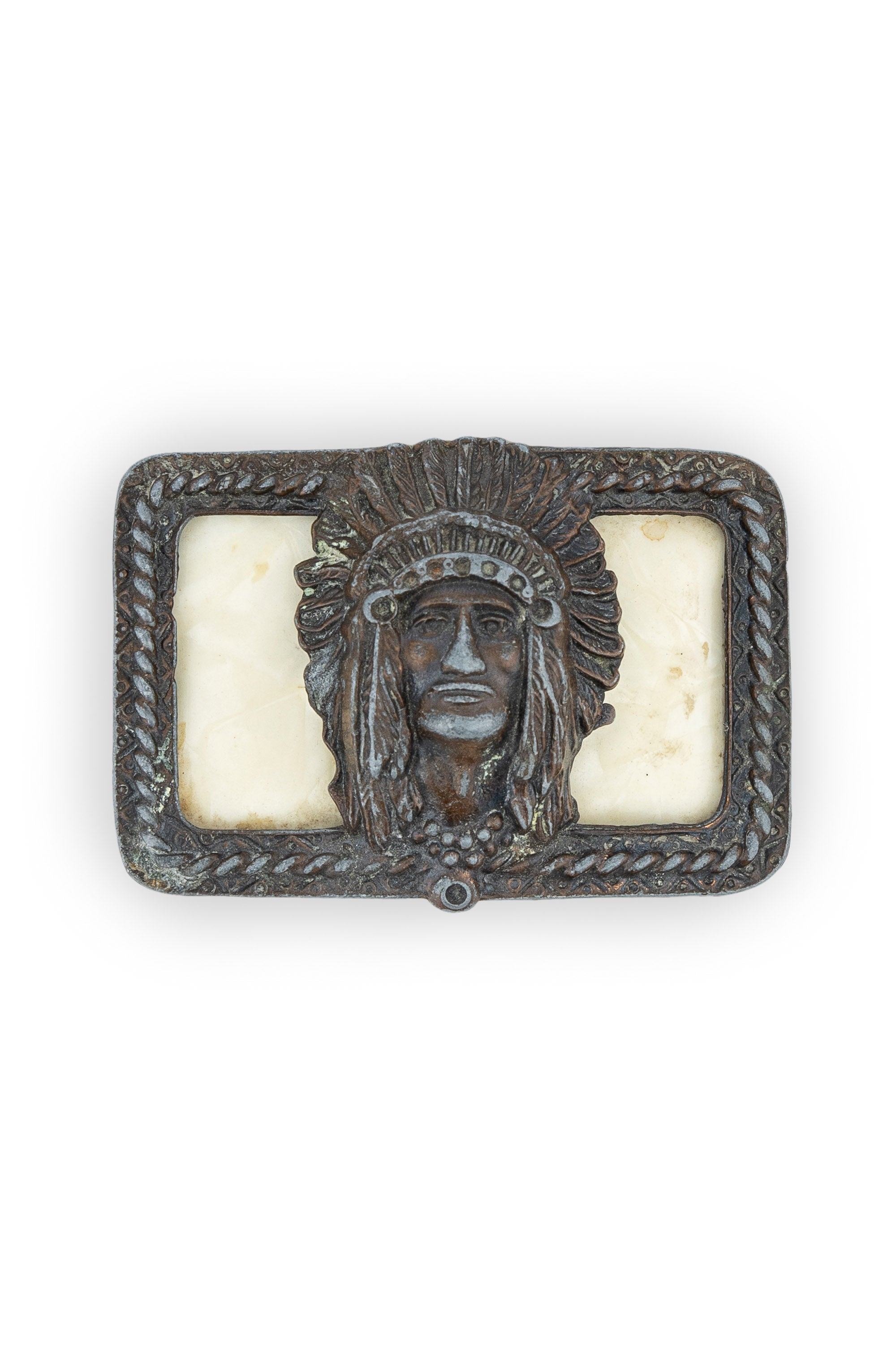 Buckle, Indian Chief, Pearlized Lucite, Vintage '50s, 107