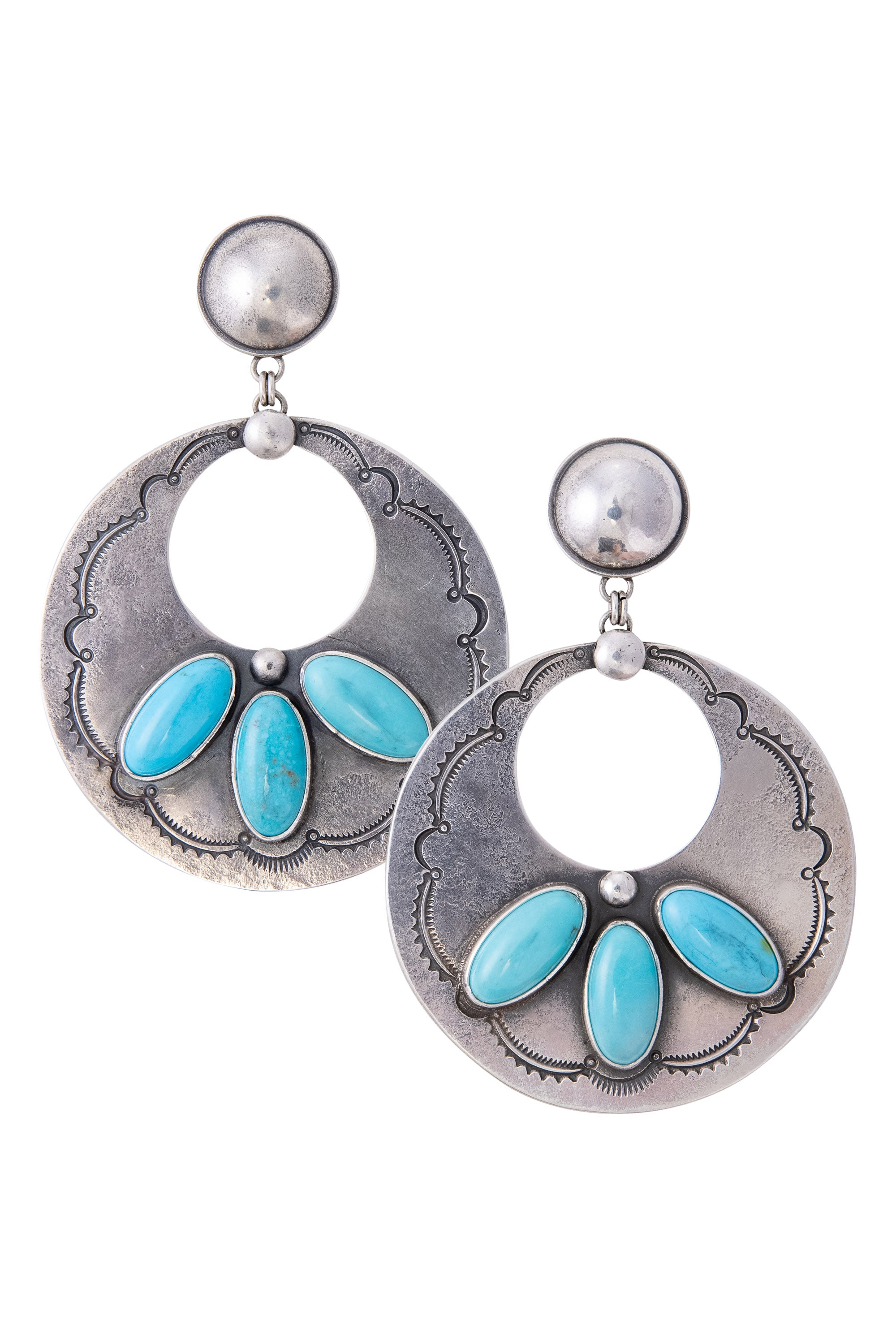 Earrings, Hoop, Turquoise, Dennis Hogan, 685