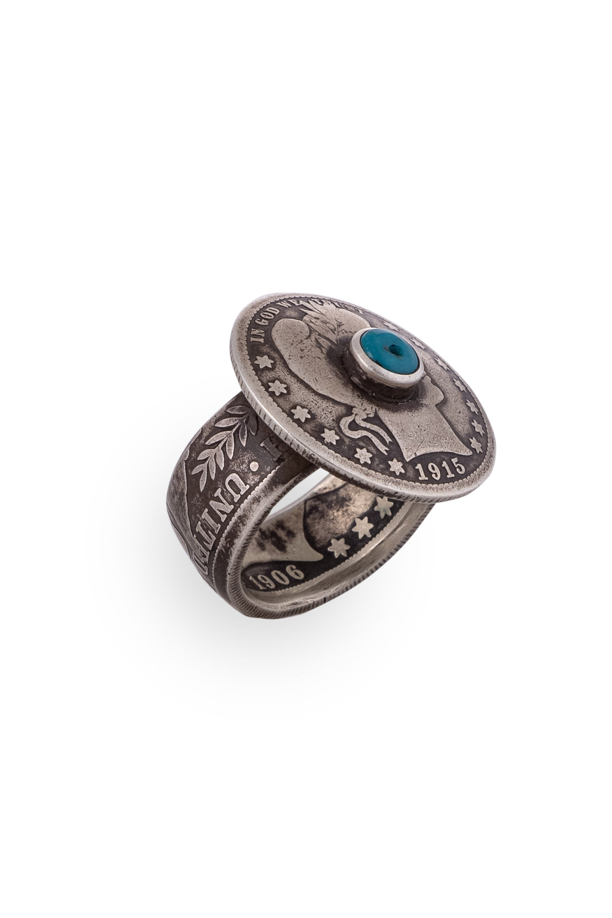 Ring, Coin, Turquoise, Hallmark, Vintage Coin, 699