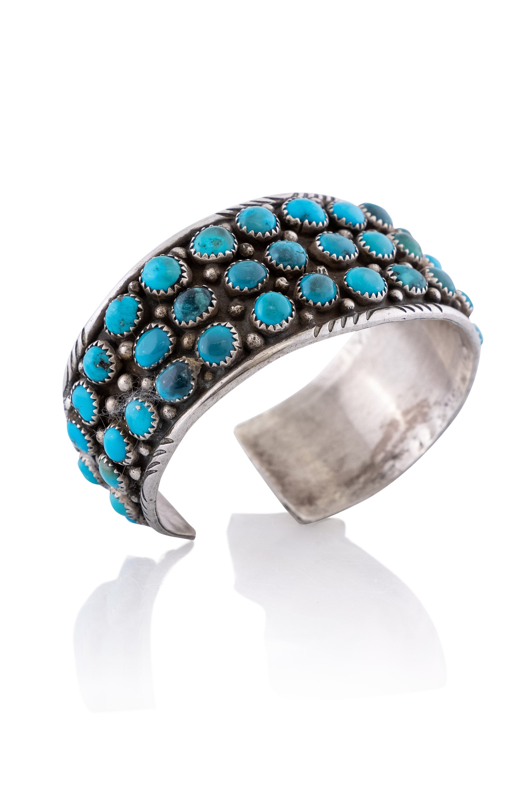 Cuff, Cluster, Turquoise, Marked, Vintage, 2695