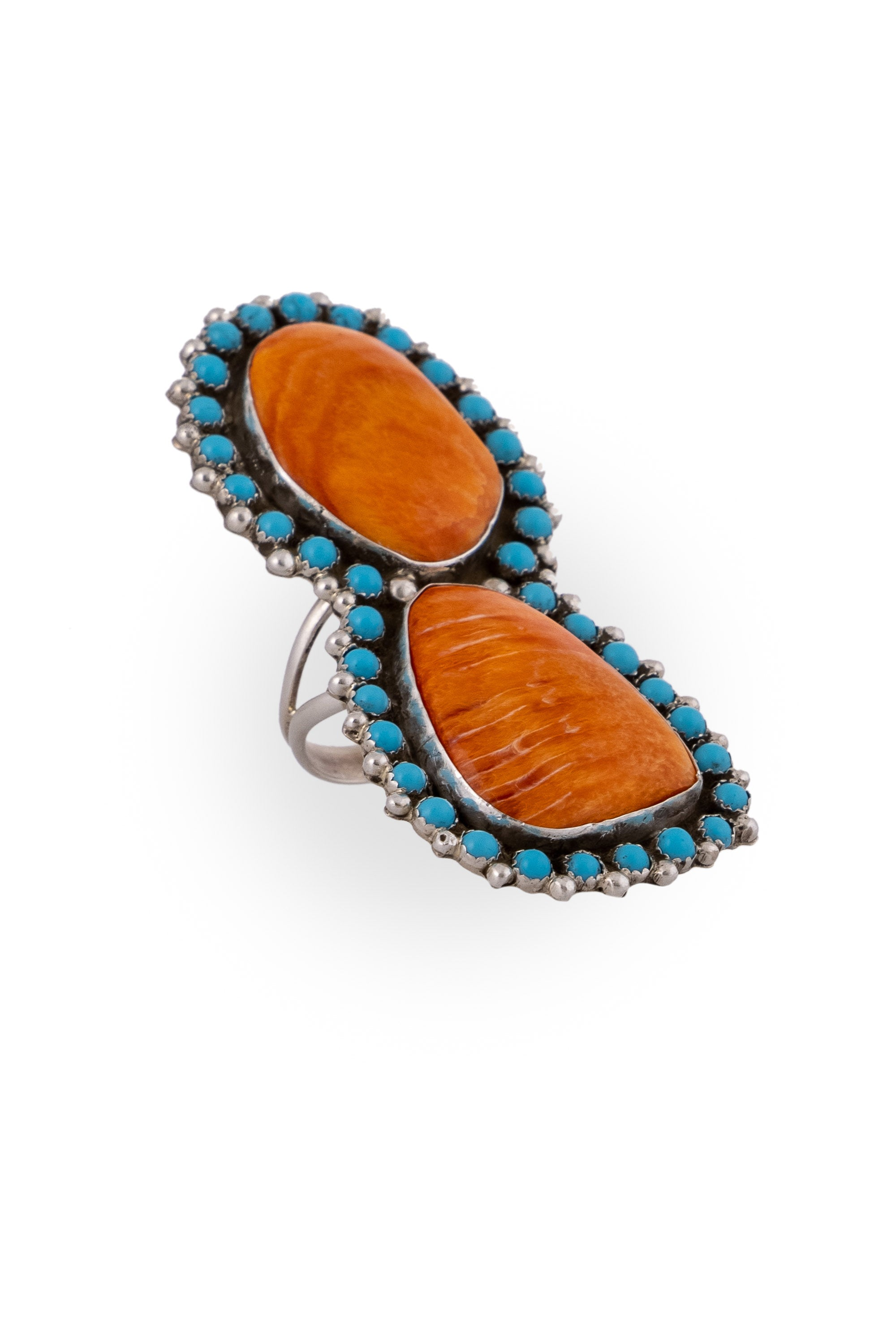 Ring, Turquoise & Orange Spiny Oyster, Double Stone, Hallmark, 676