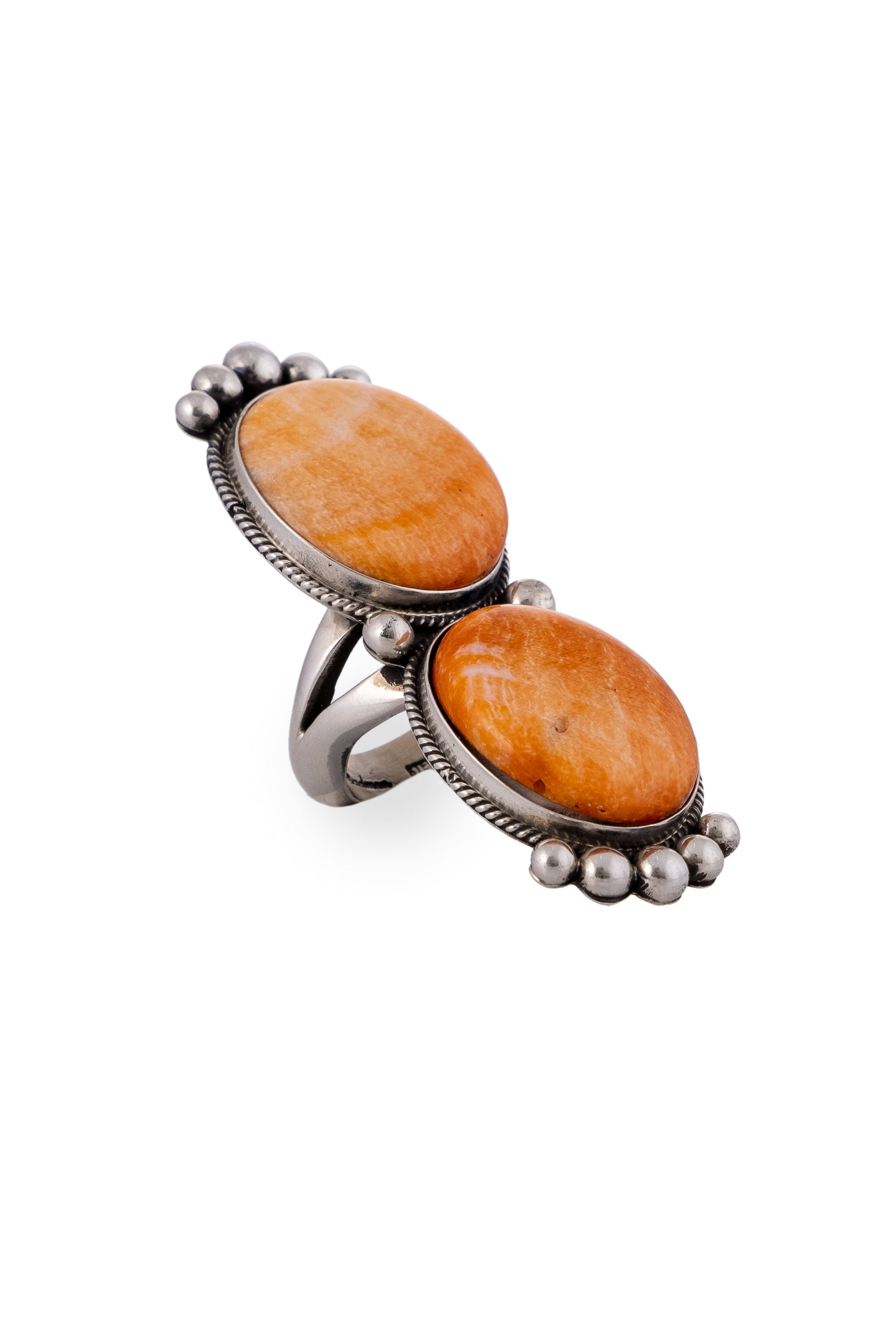 Ring, Orange Spiny Oyster, Double Stone, Hallmark, 677