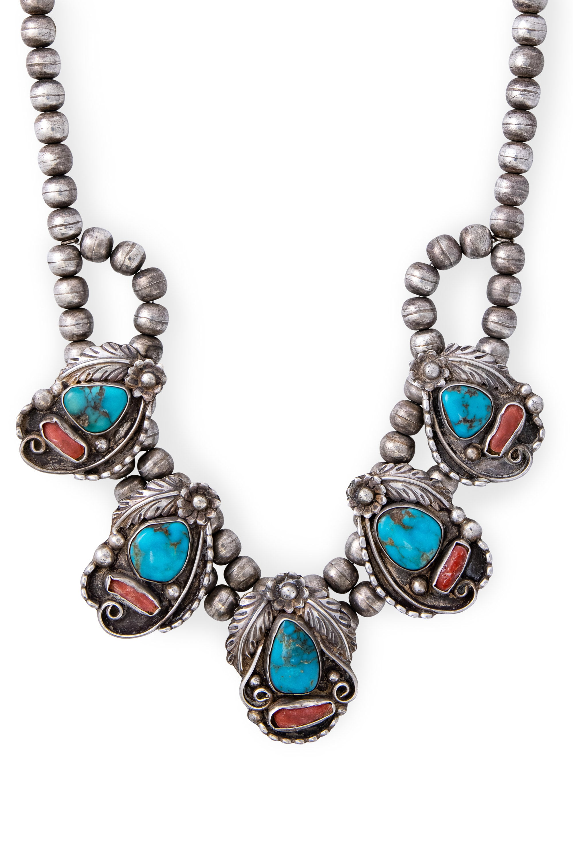 Necklace, Opera, Turquoise & Coral, Hallmark, Vintage, 1109