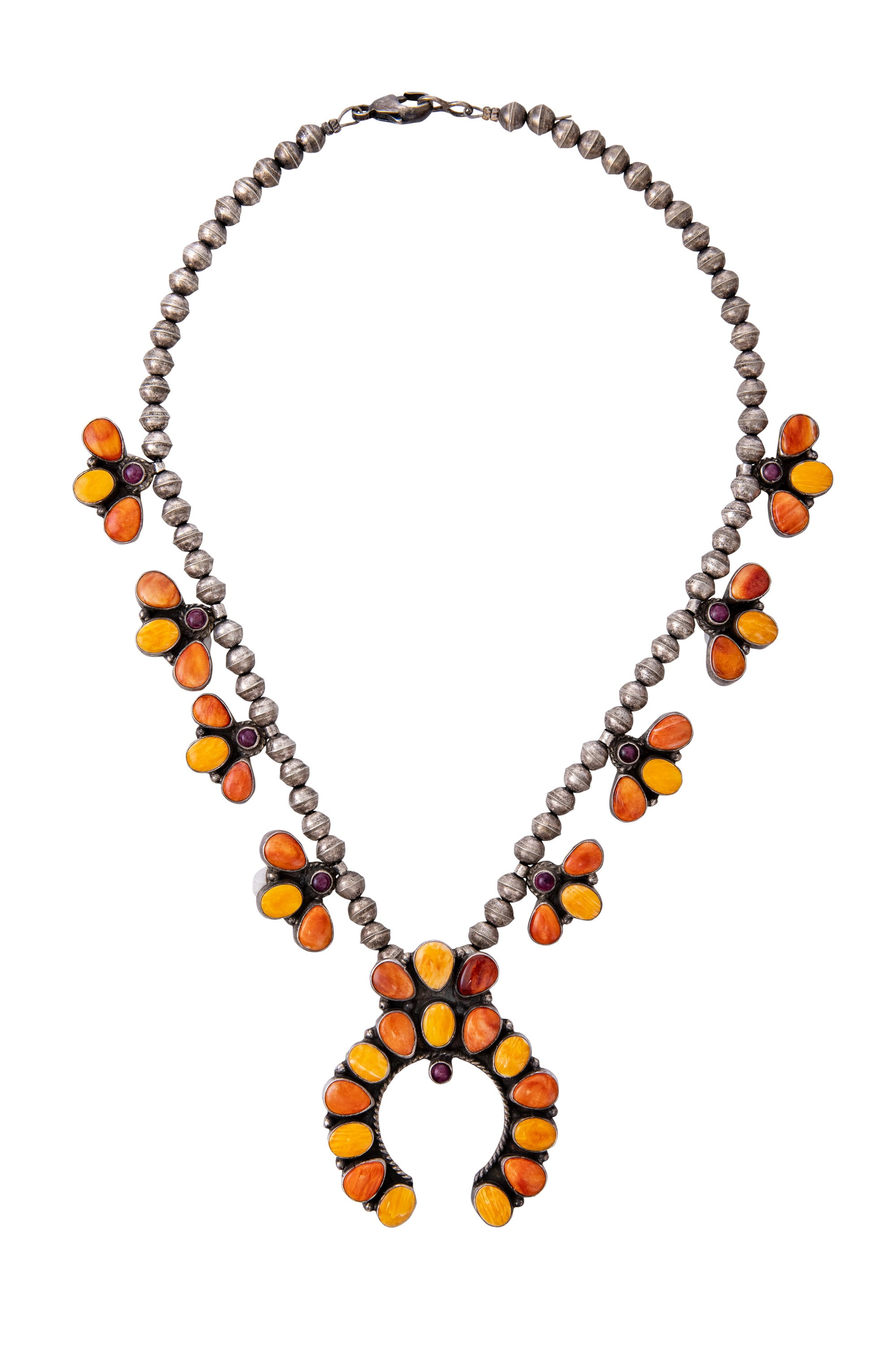 Necklace, Squash Blossom, Spiny Oyster, Orange, Hallmark, Contemporary, 1214