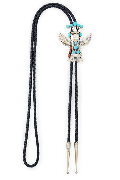 Bolo, Kachina, Turquoise & Coral, Eagle Dancer, Hallmark, Estate, Vintage, '70's, 984