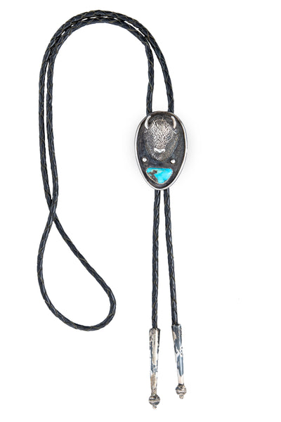 Bolo, Bison, Turquoise, Vintage, 1021