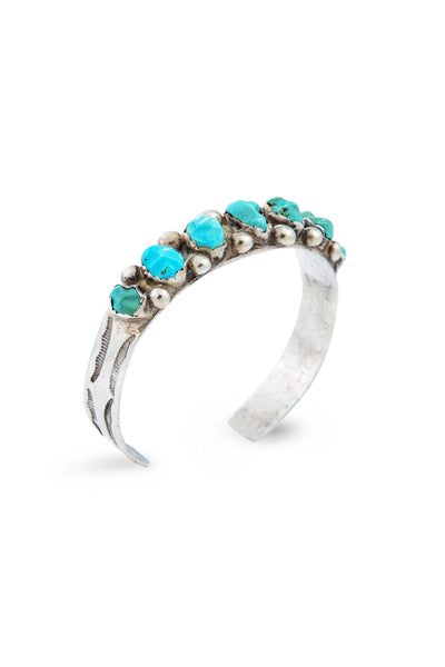 Cuff, Turquoise, Row, Rough Cut, Vintage, 2634