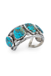 Cuff, Turquoise, 3 Stone with Peyote Bud Highlights, Estate, Vintage, Early, 2637