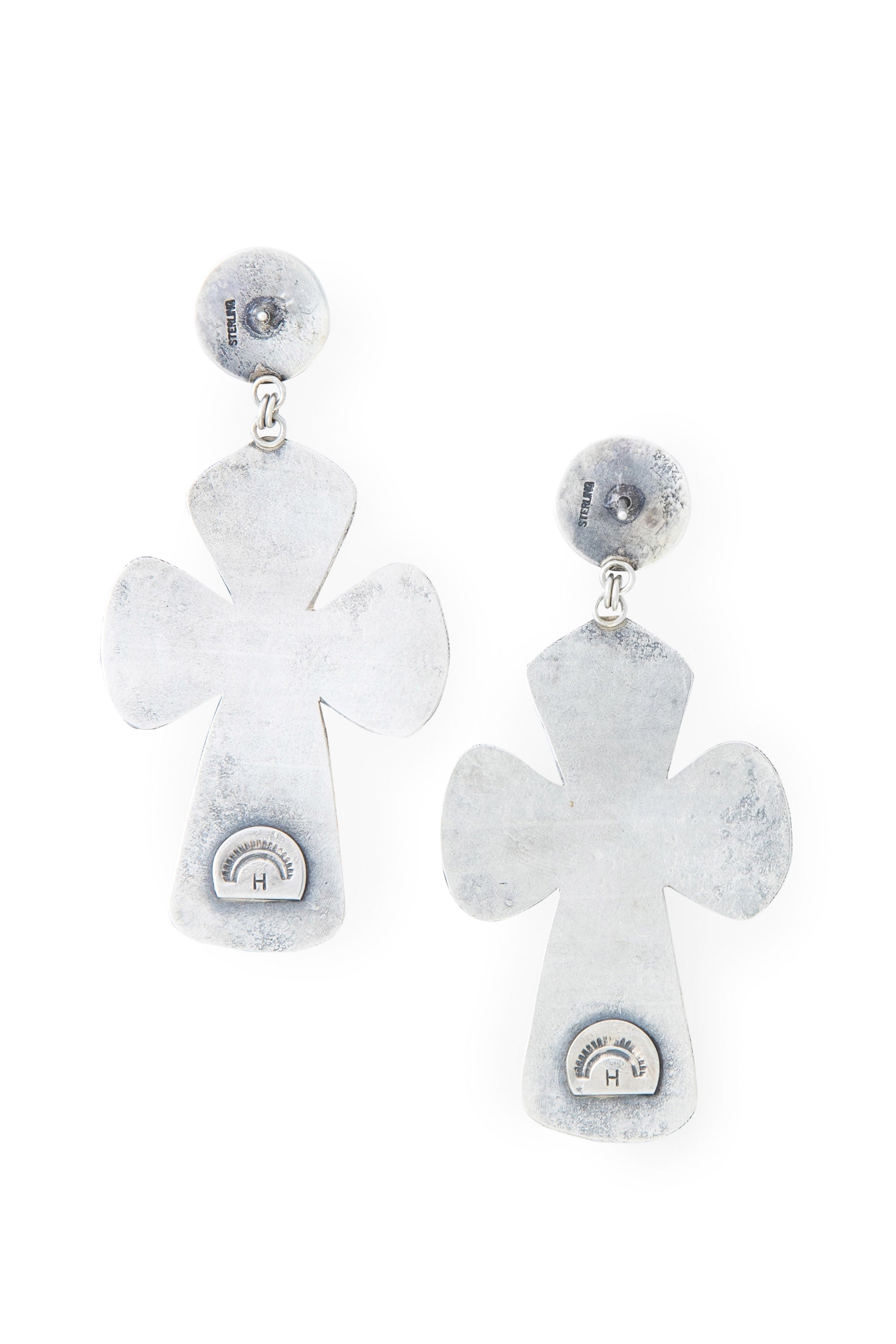 Earrings, Novelty, Sterling Silver, Cross, 549