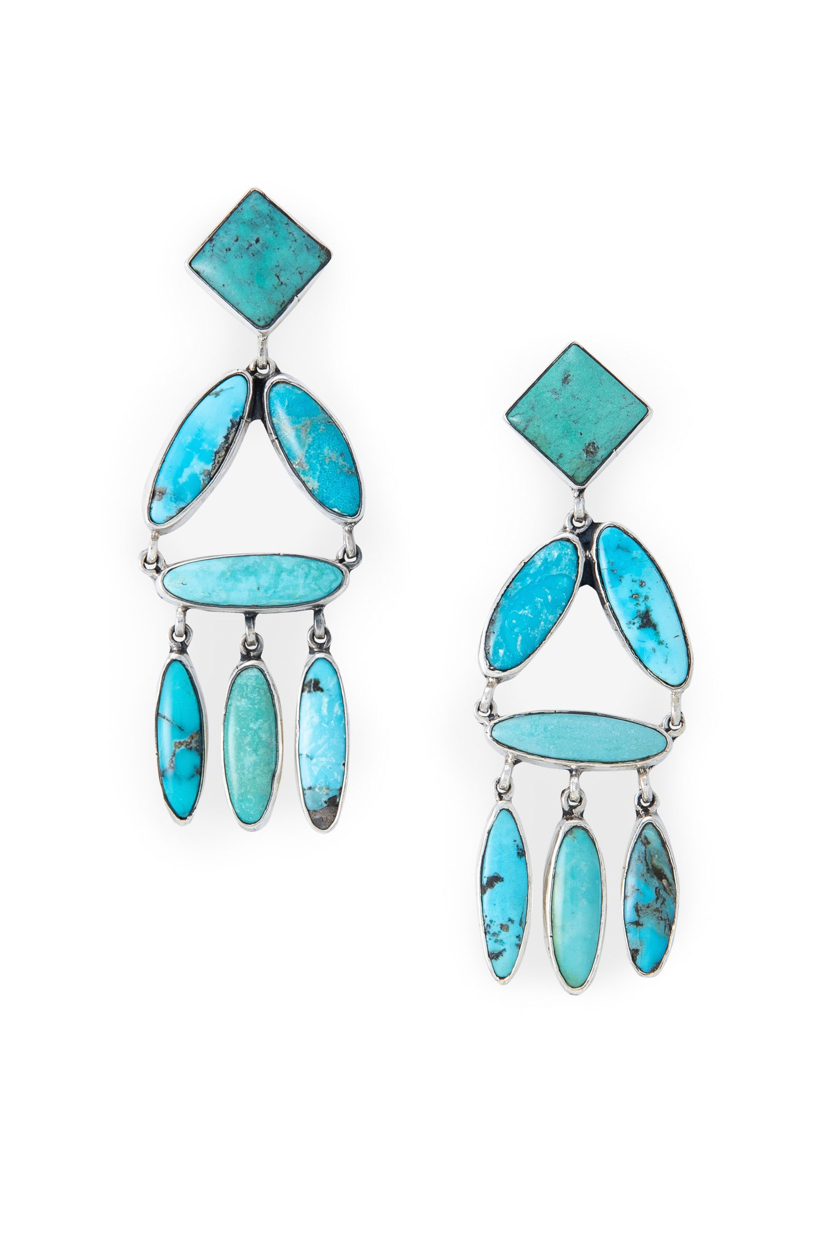 Earrings, Chandelier, Turquoise, Federico, Comtemporary,533