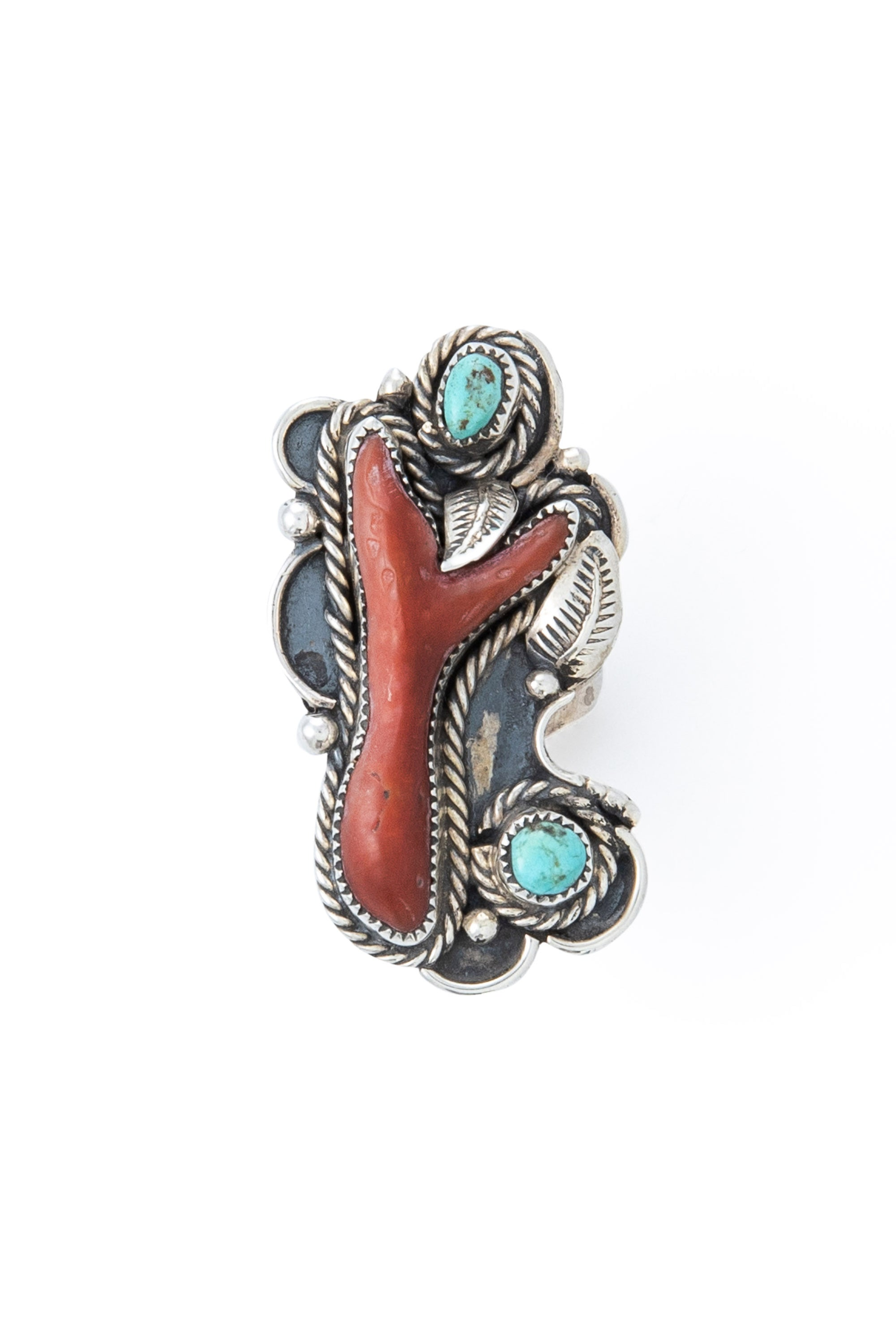 Ring, Turquoise & Coral, Estate, Vintage, 603