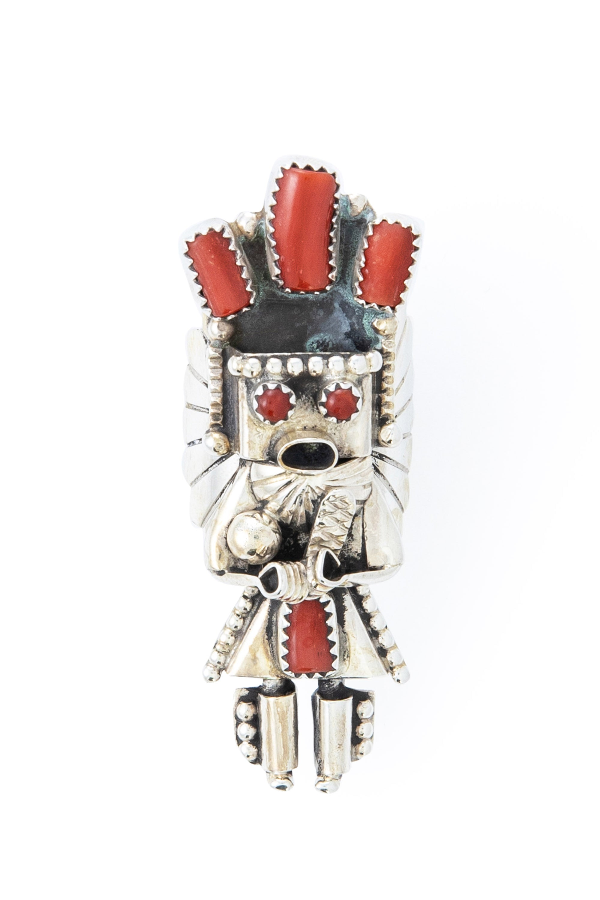 Ring, Conversational, Kachina, Coral, Hallmark, Smallcanyon, Vintage, 599