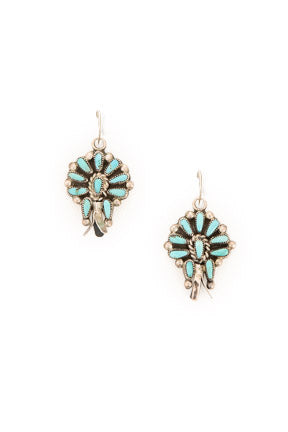 Earrings, Cluster, Turquoise, Vintage, 581
