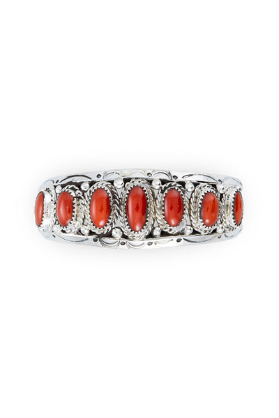 Cuff, Coral, Row, 7 Stone, Old Pawn, 2625