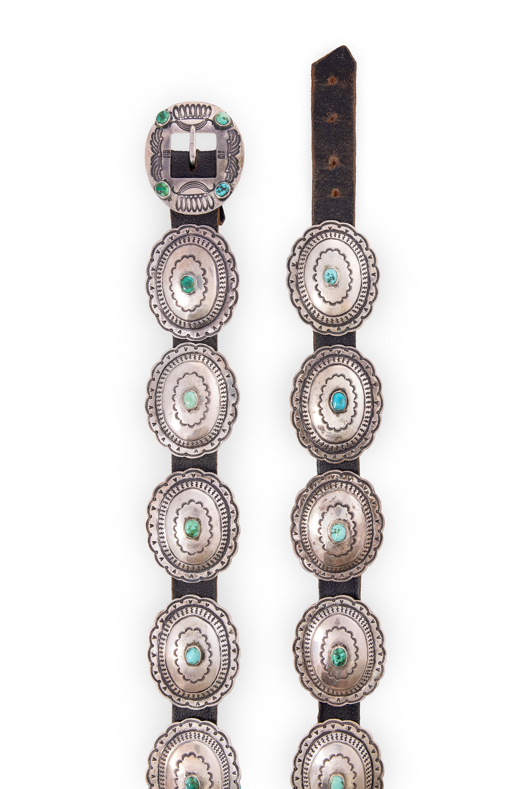 Belt, Concho, 3rd Phase Revival, Turquoise, Sterling Silver, Vintage '30s, 1019