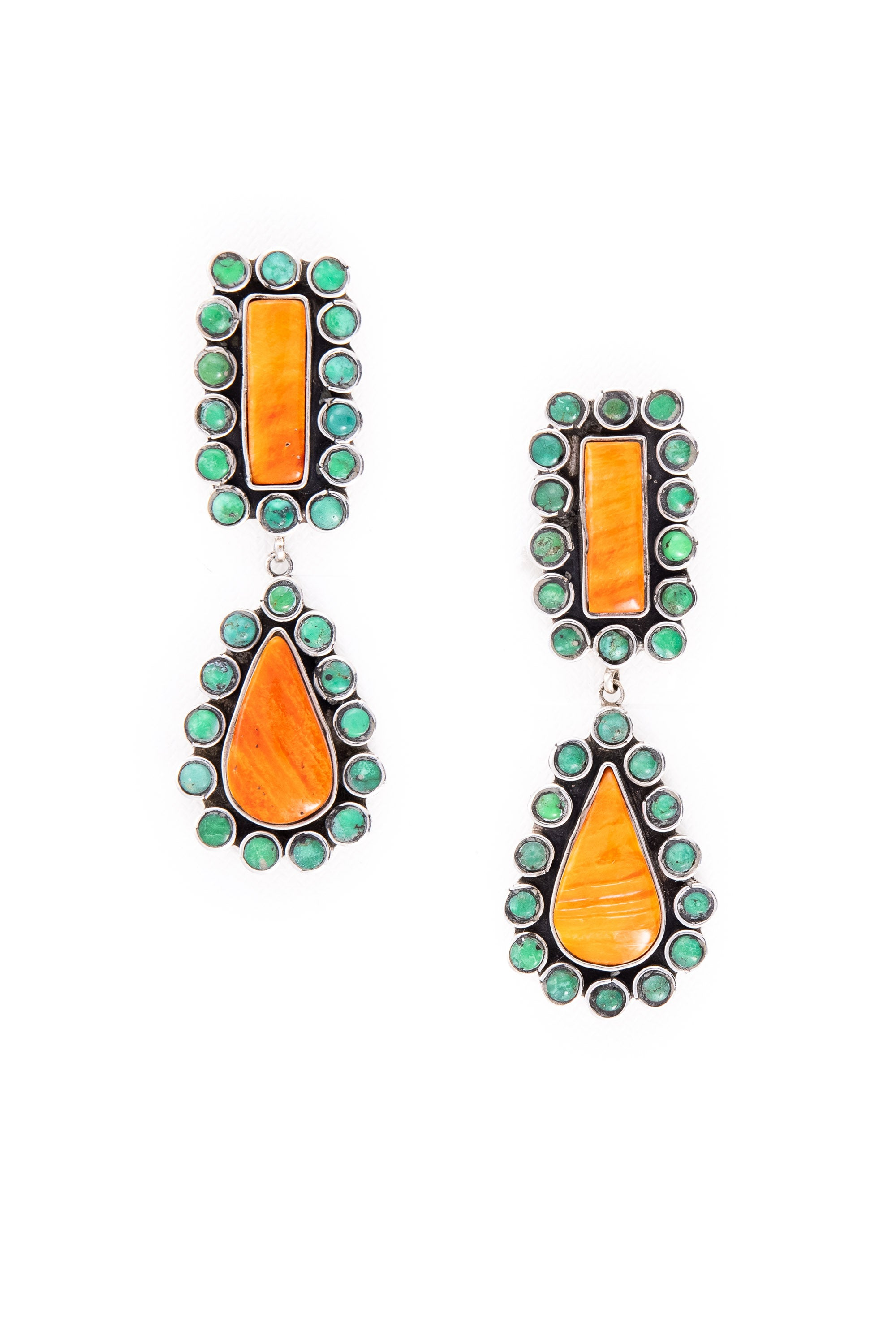 Earrings, Drop, Turquoise & Orange Spiny Oyster, Federico, Contemporary, 668