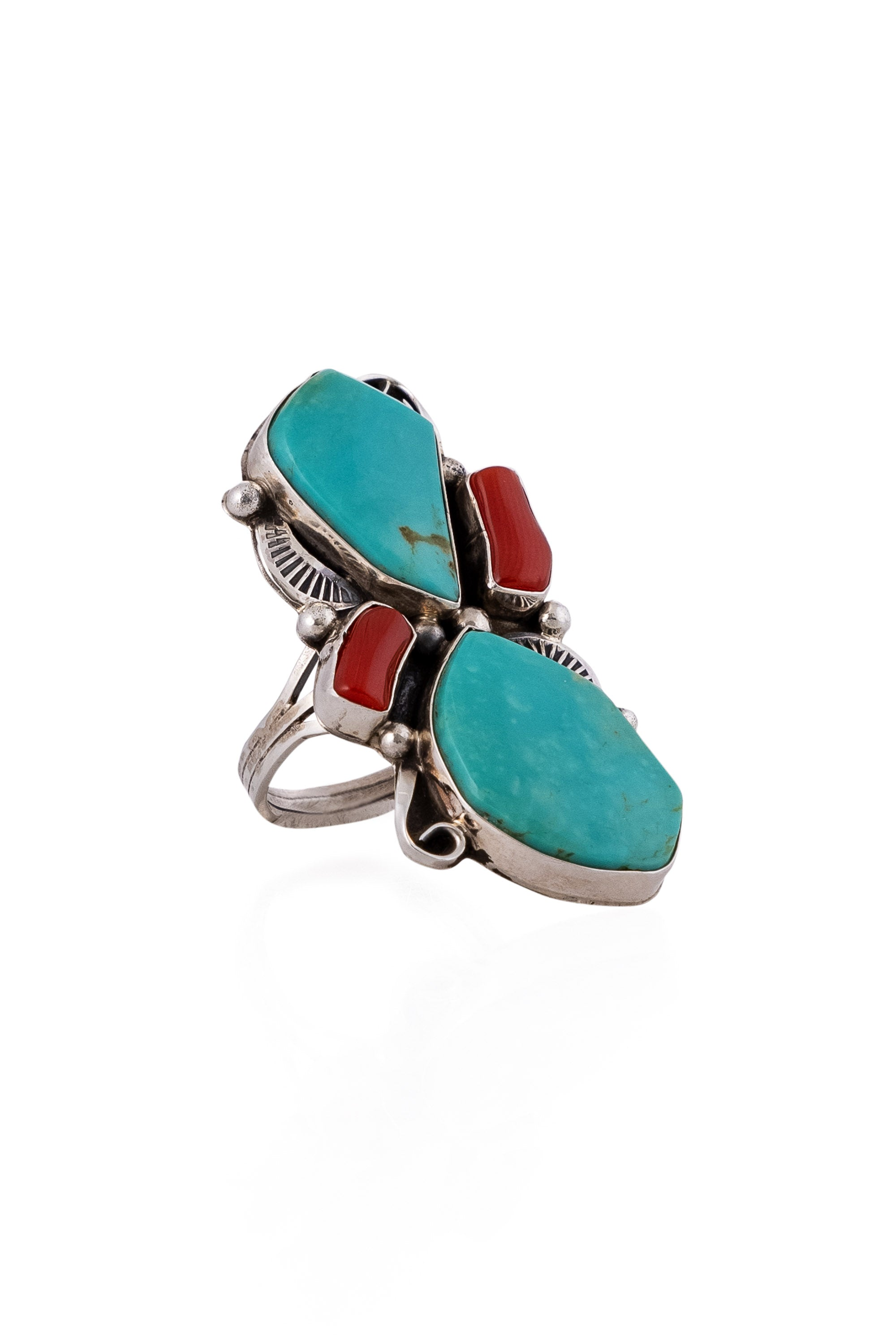 Ring, Turquoise & Coral, Hallmark, 656
