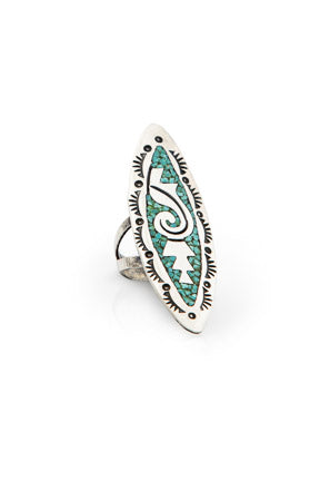 Ring, Inlay, Turquoise, Tommy Singer, Vintage, 531
