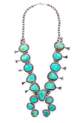 Necklace, Squash Blossom, Turquoise, Vintage
