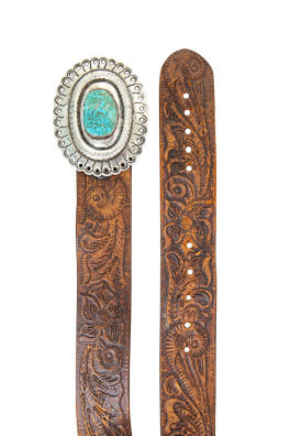 Belt, Concho Buckle, Turquoise, Vintage, 789