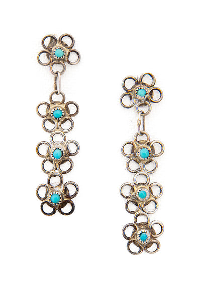 Earrings, Chandelier, Ladders, Turquoise, Vintate, 492