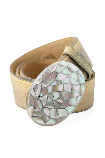 Belt, Mother of Pearl, Fishscale Buckle, Zuni, Hallmark, 664