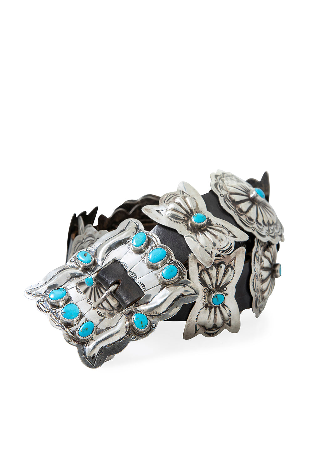 Belt, Concho, Turquoise, Sterling Silver, Vintage, 695
