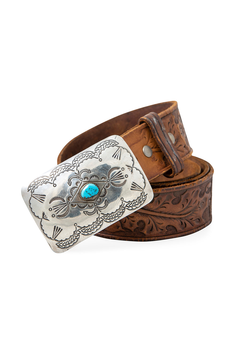 Belt, Concho Buckle, Turquoise, Tooled Leather Strap, Hallmark, Vintage, 701