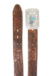 Belt, Comcho Buckle, Turquoise, Tooled Leather Belt, Navajo, Vintage, 701