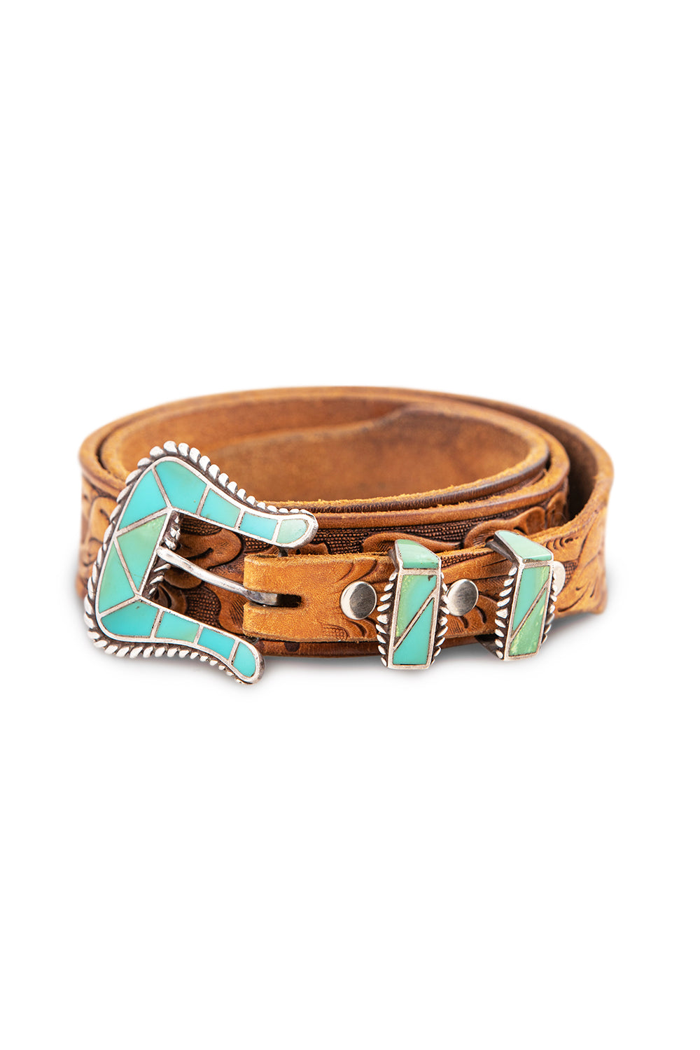 Belt, Buckle, Ranger, Turquoise, Inlay, Zuni, Vintage, 787
