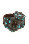 Belt, Concho, Turquoise, Sterling Silver, Kirk Smith,  Vintage, 814