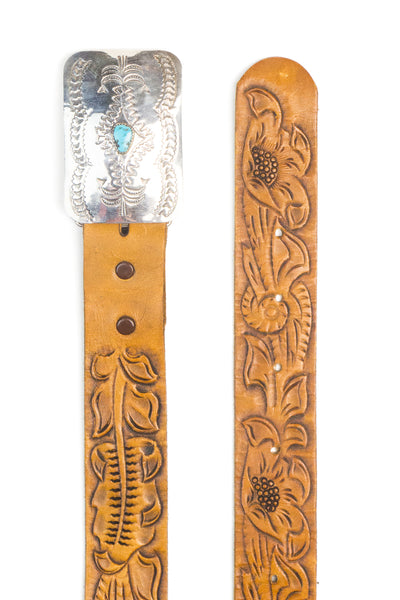 Belt, Concho Buckle, Turquoise, Vintage, 823