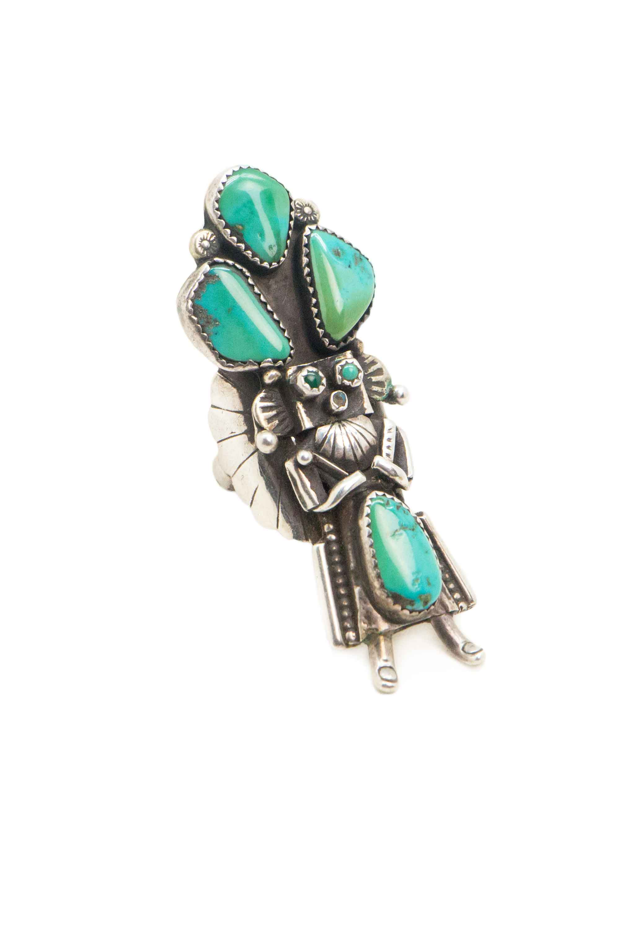 Ring, Conversational, Kachina, Turquoise, Vintage, 586