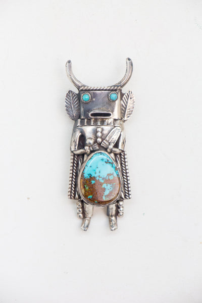 Bolo, Kachina, Turquoise & Sterling Silver, Vintage, 970