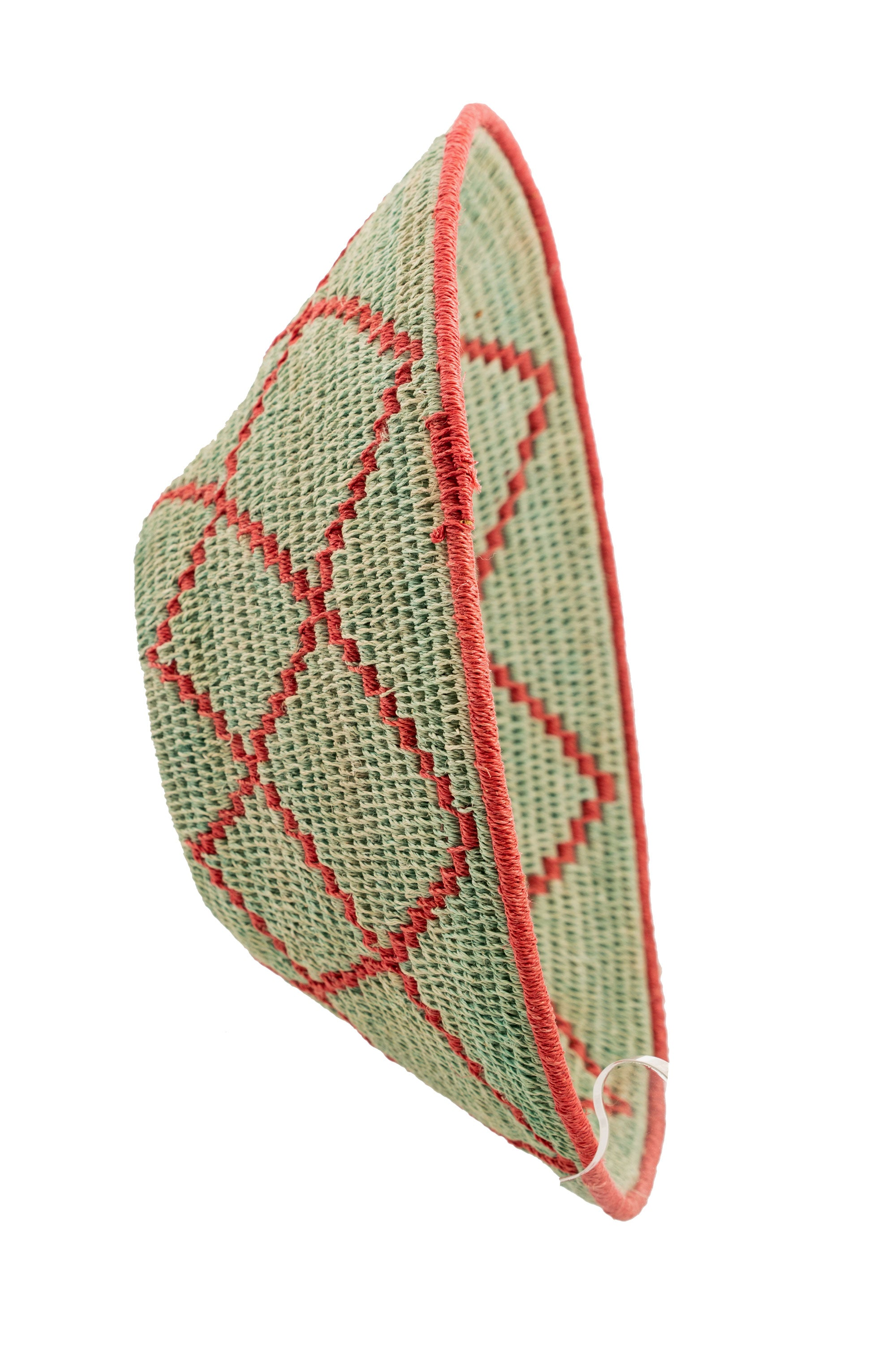 Miscellaneous, Basket, Hand Coiled, Unique Green Geometeric, Vintage, 188