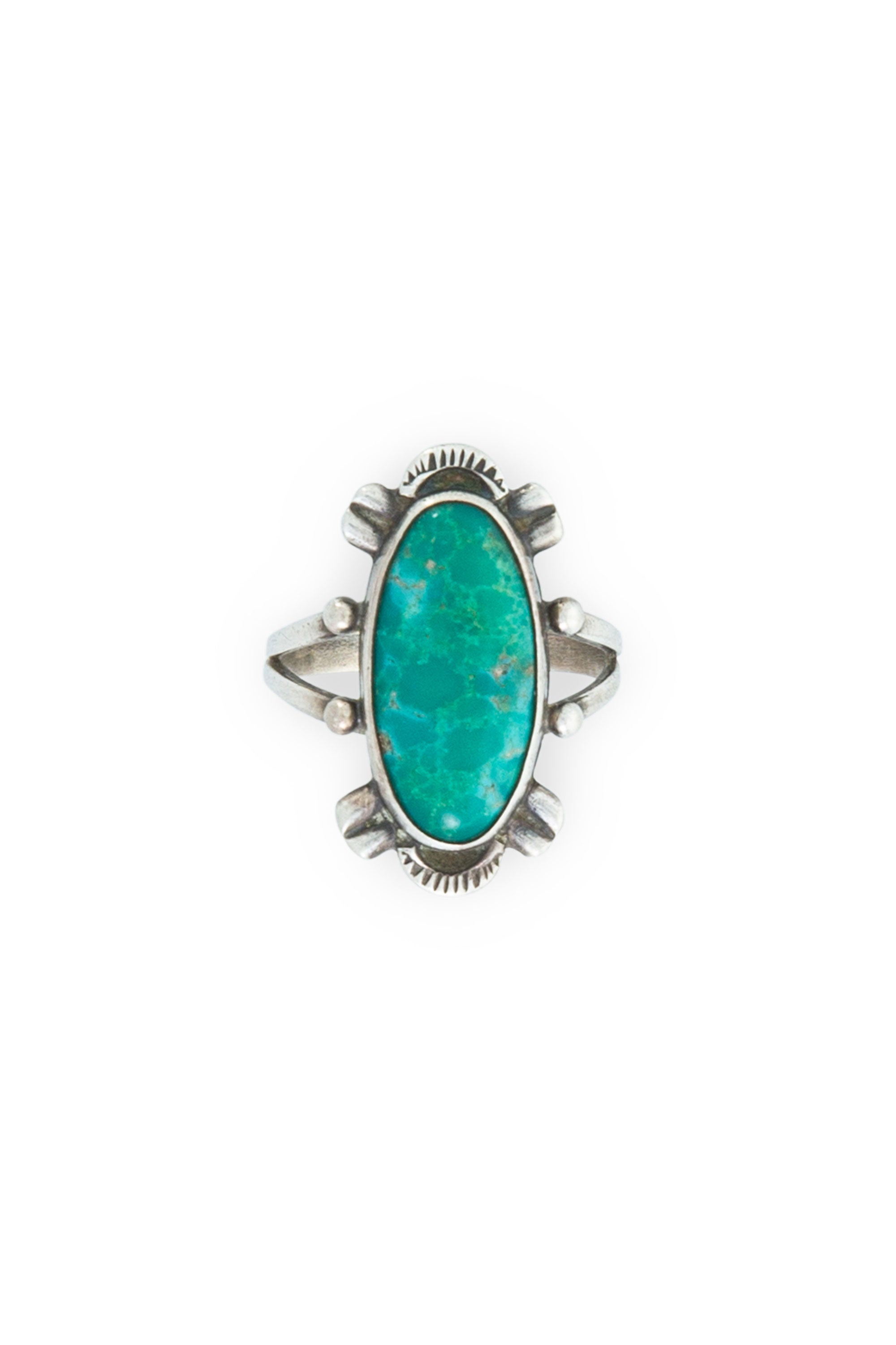 Ring, Turquoise & Sterling Silver,  Single Stone, Vintage, 589