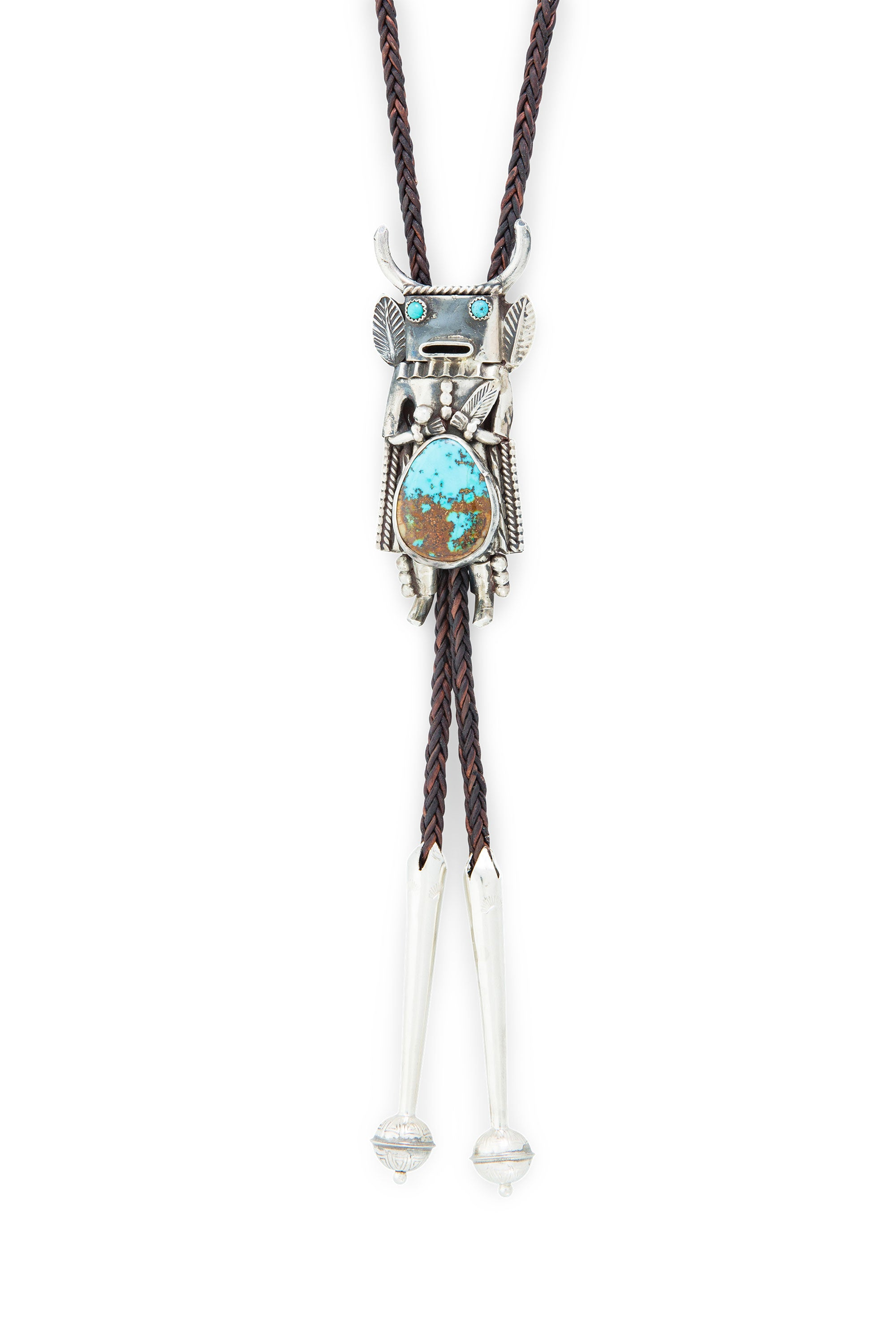 Bolo, Turquoise & Sterling Silver, Kachina, Vintage, 970