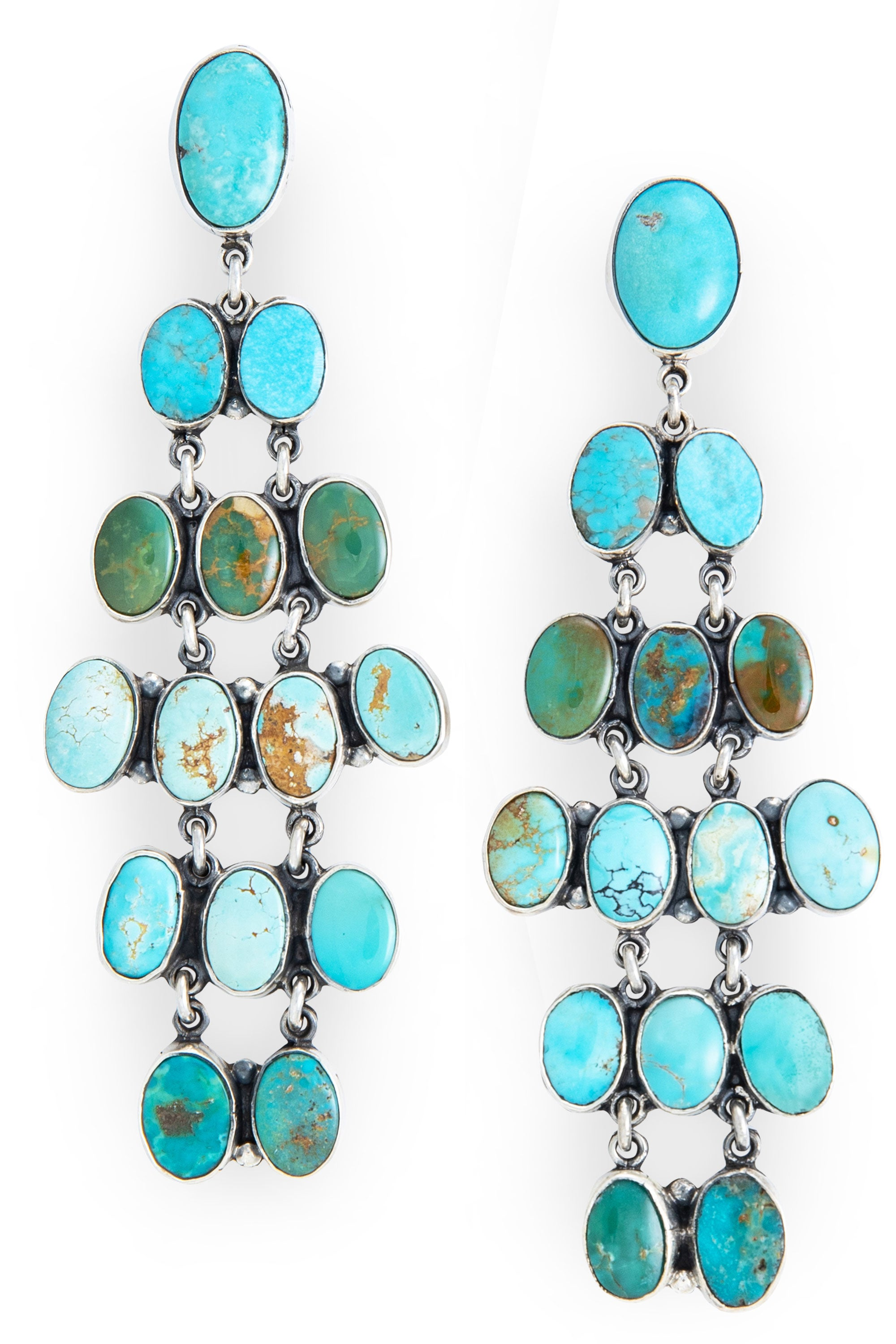 Earrings, Chandelier, Turquoise, Federico, Comtemporary, 535